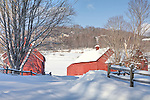 The red barns near Quechee village, Hartford, VT, USA