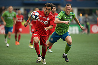 SEATTLE, WA - NOVEMBER 10: Toronto FC forward Tsubasa Endoh #31 receives a pass during a game between Toronto FC and Seattle Sounders FC at CenturyLink Field on November 10, 2019 in Seattle, Washington.