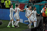 Luke Shaw of England  celebrates after scoring the goal  of 0-1 during the Uefa Euro 2020 Final football match between Italy and England at Wembley stadium in London (England), July 11th, 2021. <br /> Photo Andrea Staccioli / Insidefoto