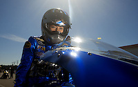 Mar. 12, 2011; Gainesville, FL, USA; NHRA pro stock motorcycle driver Angie Smith during qualifying for the Gatornationals at Gainesville Raceway. Mandatory Credit: Mark J. Rebilas-.