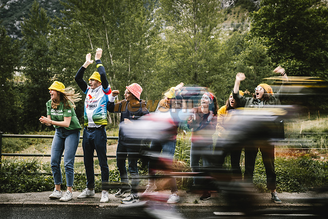 Riders fly by during Stage 16 of the 2021 Tour de France, running 169km from Pas de la Case to Saint-Gaudens, France. 13th July 2021.  <br /> Picture: A.S.O./Pauline Ballet   Cyclefile<br /> <br /> All photos usage must carry mandatory copyright credit (© Cyclefile   A.S.O./Pauline Ballet)
