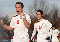 Jason Herrick #9 of the University of Maryland after scoring the second goal during an NCAA quarter-final match against the University of Michigan at Ludwig Field, University of Maryland, College Park, Maryland on December 4 2010.Michigan won 3-2 AET.