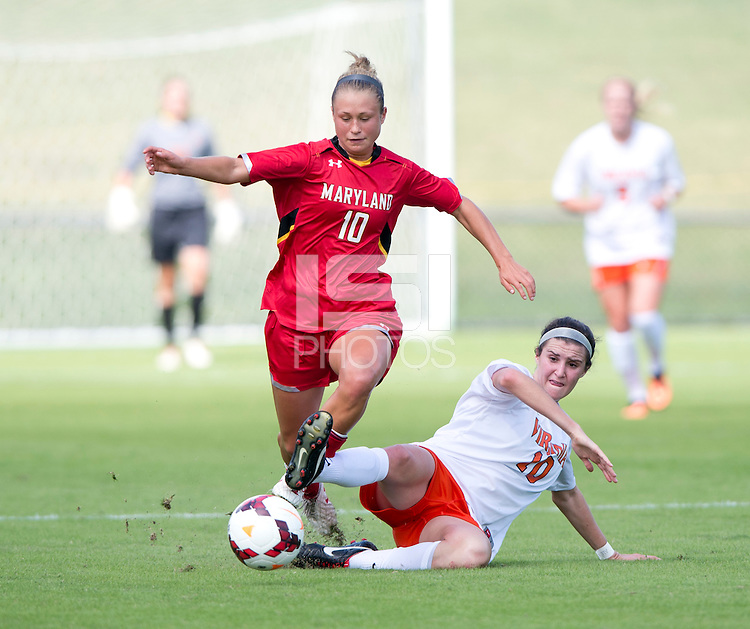 Riley Barger (10) of Virginia steps out of the tackle of Annie Steinlage (10) of Maryland during the game at Klockner Stadium in Charlottesville, VA.  Virginia defeated Maryland, 1-0.