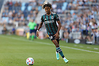ST PAUL, MN - AUGUST 14: Kevin Cabral #9 of the Los Angeles Galaxy during a game between Los Angeles Galaxy and Minnesota United FC at Allianz Field on August 14, 2021 in St Paul, Minnesota.