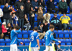 St Johnstone v Dunfermline....25.02.12   SPL.Maria Fowler applauds as Lee Croft scores the third goal (No9).Picture by Graeme Hart..Copyright Perthshire Picture Agency.Tel: 01738 623350  Mobile: 07990 594431