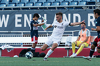 FOXBOROUGH, MA - JULY 25: USL League One (United Soccer League) match. Damia Viader #3 of Union Omaha crosses the ball during a game between Union Omaha and New England Revolution II at Gillette Stadium on July 25, 2020 in Foxborough, Massachusetts.