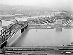 Pittsburgh PA:  View of the Manchester and Point bridges at the junction of the three rivers.