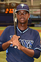 Tampa Bay Rays shortstop Adrian Rondon (2) poses for a photo after an Instructional League game against the Boston Red Sox on September 25, 2014 at Tropicana Field in St. Petersburg, Florida.  (Mike Janes/Four Seam Images)