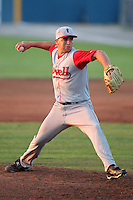 Lowell Spinners Pitcher Garrett Rau during a game vs. the Batavia Muckdogs at Dwyer Stadium in Batavia, New York July 16, 2010.   Batavia defeated Lowell 5-4 with a walk off RBI single.  Photo By Mike Janes/Four Seam Images