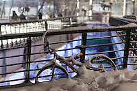 Pictured: A bicycle is covered in thick snow in Larissa, central Greece Thursday 12 January 2017<br /> Re: Heavy snow has affected most parts of Greece.