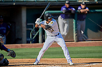 Cesar Puello (34) of the Salt Lake Bees bats against the Albuquerque Isotopes at Smith's Ballpark on April 27, 2019 in Salt Lake City, Utah. The Isotopes defeated the Bees 10-7. This was a makeup game from April 26, 2019 that was cancelled due to rain. (Stephen Smith/Four Seam Images)