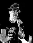 Mark Mothersbaugh of the music group DEVO performs onstage in New York City at The Bottom Line in October, 1978.