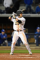 Vanderbilt Commodores infielder Zander Wiel (43) at bat during a game against the Indiana State Sycamores on February 20, 2015 at Charlotte Sports Park in Port Charlotte, Florida.  Vanderbilt defeated Indiana State 3-2.  (Mike Janes/Four Seam Images)