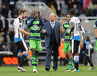 Rafa Benitez manager of Newcastle United celebrates at the final whistle during the Barclays Premier League match between Newcastle United and Swansea City played at St. James' Park, Newcastle upon Tyne, on the 16th April 2016
