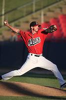 Blake Houser #31 of the High Desert Mavericks pitches against the Modesto Nuts at Heritage Field on June 29, 2014 in Adelanto, California. High Desert defeated Modesto, 6-1. (Larry Goren/Four Seam Images)