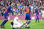 FC Barcelona's Gerard Pique, Sergi Roberto, Real Madrid's  Cristiano Ronaldo during spanish La Liga match between Futbol Club Barcelona and Real Madrid  at Camp Nou Stadium in Barcelona , Spain. Decembe r03, 2016. (ALTERPHOTOS/Rodrigo Jimenez)