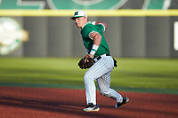 Marshall Thundering Herd second baseman Geordon Blanton (3) makes a throw to first base against the Charlotte 49ers at Hayes Stadium on March 22, 2019 in Charlotte, North Carolina. The Thundering Herd defeated the 49ers 12-6. (Brian Westerholt/Four Seam Images)