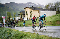 Aleksandr Vlasov (RUS/Astana - Premier Tech) & Damiano Caruso (ITA/Bahrain - Victorious) up the Colle Passerino (3km from the finish)<br /> <br /> 104th Giro d'Italia 2021 (2.UWT)<br /> Stage 4 from Piacenza to Sestola (187km)<br /> <br /> ©kramon