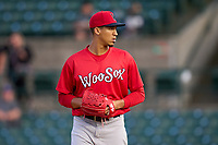 Worcester Red Sox pitcher Raynel Espinal (55) during a game against the Rochester Red Wings on September 3, 2021 at Frontier Field in Rochester, New York.  (Mike Janes/Four Seam Images)