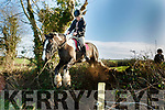 Young Chloe Mangan, from Knocknagoshel, looks a bit scared as her Piebald horse 'Cash' clears the ditch during the North Kerry Harriers drag hunt based in McElligotts bar, Abbeydorney last Sunday.