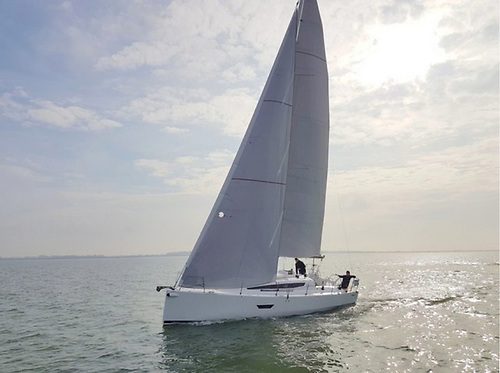 A Quantum roller headsail and mainsail built from Contender CDX laminated cloth