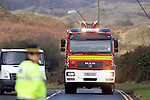 Emergency services at the scene of the mid air collision over Kenfig sand dunes near Porthcawl..