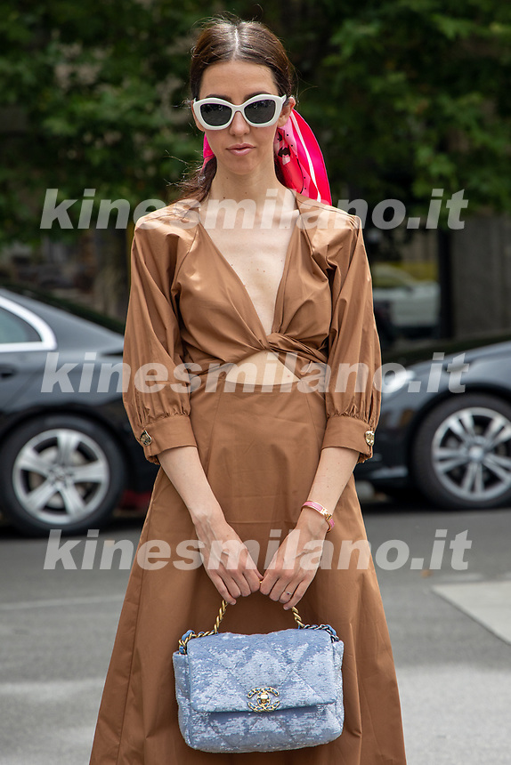 Milan,Italy - 20 th june 2021 - Kean Etro fashion show for Milano fashion week Men's collection 18-22 june 2021 - young girl posing before the show