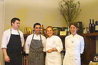 Dolly Irigoyen, famous chef and TV Presenter, with kitchen staff brigade The Dolly Irigoyen - famous chef and TV presenter - private restaurant, Buenos Aires Argentina, South America Espacio Dolli
