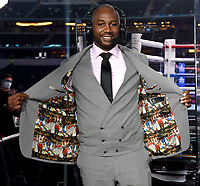 ARLINGTON, TX - DECEMBER 5: Lennox Lewis shows the inside design of his custom suite jacket before the Errol Spence Jr. v Danny Garcia fight on Fox Sports PBC Pay-Per-View fight night at AT&T Stadium in Arlington, Texas on December 5, 2020. (Photo by Frank Micelotta/Fox Sports)