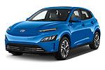 2022 Hyundai Kona-Electric Limited 5 Door SUV Angular Front automotive stock photos of front three quarter view