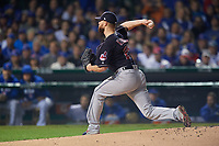 Cleveland Indians Corey Kluber (28) delivers a pitch in the first inning during Game 4 of the Major League Baseball World Series against the Chicago Cubs on October 29, 2016 at Wrigley Field in Chicago, Illinois.  (Mike Janes/Four Seam Images)