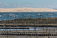 France, Gironde (33), Bassin d'Arcachon, Le Cap-Ferret,  Les parcs à huitres et la Dune du Pyla / France, Gironde, Bassin d'Arcachon, Le Cap Ferret, Oyster beds  and the Dune du Pyla