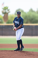 AZL Padres 1 starting pitcher Efrain Contreras (22) gets ready to deliver a pitch during an Arizona League game against the AZL Royals at Peoria Sports Complex on July 4, 2018 in Peoria, Arizona. The AZL Royals defeated the AZL Padres 1 5-4. (Zachary Lucy/Four Seam Images)