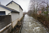 Pictured: Rhondda river which runs past the house owned by Stefan Morgan in Porth. Wednesday 04 March 2020<br /> Re: Revisiting the flood affected areas in Pontypridd, Wales, UK.