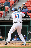 Buffalo Bisons designated hitter Val Pascucci #17 during a game against the Empire State Yankees at Coca-Cola Field on April 12, 2012 in Buffalo, New York.  Empire State defeated Buffalo 7-2.  (Mike Janes/Four Seam Images)