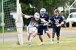 GER - Hannover, Germany, May 30: During the Men Lacrosse Playoffs 2015 match between HLC Rot-Weiss Muenchen (blue) and KKHT Schwarz-Weiss Koeln (weiss) on May 30, 2015 at Deutscher Hockey-Club Hannover e.V. in Hannover, Germany. Final score 5:6. (Photo by Dirk Markgraf / www.265-images.com) *** Local caption *** Marc Brandenburger #15 of KKHT Schwarz-Weiss Koeln, Benedikt Fohrmann #55 of HLC Rot-Weiss Muenchen, Maximilian Bieber #22 of HLC Rot-Weiss Muenchen