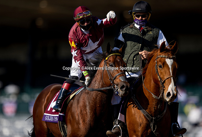 November 6, 2020: Golden Pal, ridden by Irad Ortiz wins the Breeders' Cup Juvenile Turf Sprint at Keeneland Racetrack in Lexington, Kentucky on November 6, 2020. Alex Evers/Eclipse Sportswire/Breeders Cup