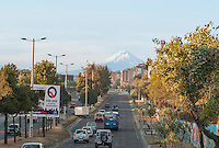 View of Mount Cotopaxi from a street in Quito, Ecuador