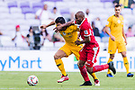 Massimo Luongo of Australia (L) battles for the ball with Khalil Baniateyah of Jordan during the AFC Asian Cup UAE 2019 Group B match between Australia (AUS) and Jordan (JOR) at Hazza Bin Zayed Stadium on 06 January 2019 in Al Ain, United Arab Emirates. Photo by Marcio Rodrigo Machado / Power Sport Images