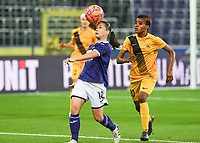 20190912 - Anderlecht , BELGIUM : Anderlecht's Stefania Vatafu pictured in a duel with Biik's Misozi Zulu during the female soccer game between the Belgian Royal Sporting Club Anderlecht Dames  and BIIK Kazygurt from Shymkent in Kazachstan, this is the first leg in the round of 32 of the UEFA Women's Champions League season 2019-20120, Thursday 12 th September 2019 at the Lotto Park in Anderlecht , Belgium. PHOTO SPORTPIX.BE | DAVID CATRY