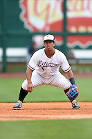 NW Arkansas Naturals third baseman Cheslor Cuthbert (11) during a game against the Corpus Christi Hooks on May 26, 2014 at Arvest Ballpark in Springdale, Arkansas.  NW Arkansas defeated Corpus Christi 5-3.  (Mike Janes/Four Seam Images)