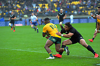 NZ's Caleb Clarke tackles Australia's Filipo Daugunu during the Bledisloe Cup rugby union match between the New Zealand All Blacks and Australia Wallabies at Sky Stadium in Wellington, New Zealand on Sunday, 11 October 2020. Photo: Dave Lintott / lintottphoto.co.nz