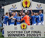 22.05.2021 Scottish Cup Final, St Johnstone v Hibs: Callum Davidson lifts the cup