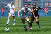 BRIDGEVIEW, IL - JUNE 5: Merritt Mathias #11 of the North Carolina Courage and Mallory Pugh #9 of the Chicago Red Stars battle for the ball during a game between North Carolina Courage and Chicago Red Stars at SeatGeek Stadium on June 5, 2021 in Bridgeview, Illinois.