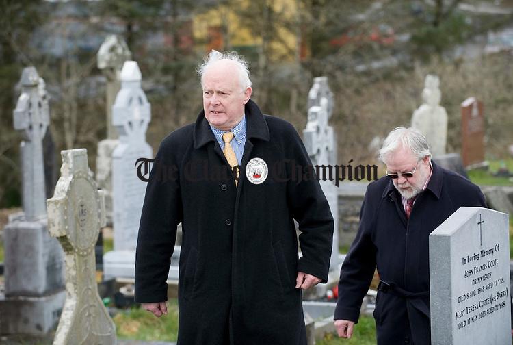 Muiris O Rochain and Seamus Mac Mathuna at the funeral of musician Joe Ryan in Inagh.