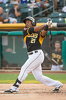 Alfredo Marte (21) of the Salt Lake Bees at bat against the Iowa Cubs in Pacific Coast League action at Smith's Ballpark on August 21, 2015 in Salt Lake City, Utah. The Bees defeated the Cubs 12-8.  (Stephen Smith/Four Seam Images)