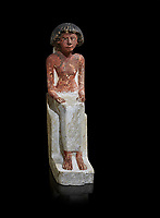 Ancient Egyptian statue of Maa, limestone, New Kingdom, 18th Dynasty, (1480-1390 BC), Thebes Necropolis. Egyptian Museum, Turin. black background. Drovetti collection. Cat 3089