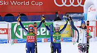 17th October 2020, Rettenbachferner, Soelden, Austria; FIS World Cup Alpine Skiing ladies downhill; from left, Federica Brignone (ITA), Marta Bassino (ITA) and Petra Vlhova (SVK) on the podium