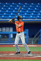 Ayden Sumner (3) of East Henderson High School in Hendersonville, NC during the Atlantic Coast Prospect Showcase hosted by Perfect Game at Truist Point on August 22, 2020 in High Point, NC. (Brian Westerholt/Four Seam Images)