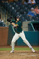 Jared Triolo (19) of the Greensboro Grasshoppers at bat against the Winston-Salem Dash at First National Bank Field on June 3, 2021 in Greensboro, North Carolina. (Brian Westerholt/Four Seam Images)